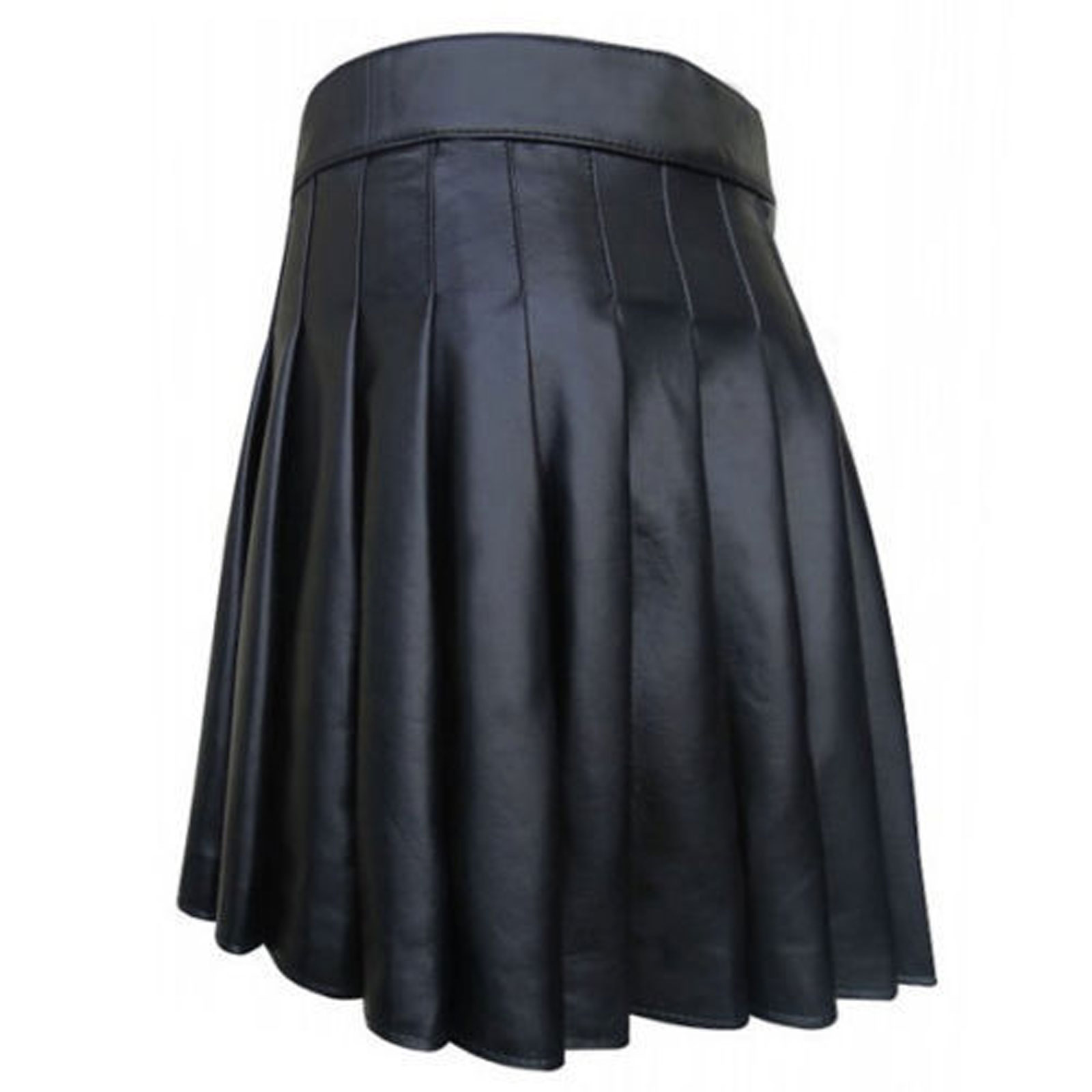 cowhide-black-open-pleated-leather-kilt-back