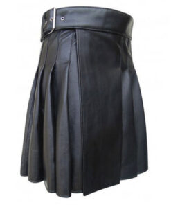 Cowhide Black Leather Kilt for Leather Man