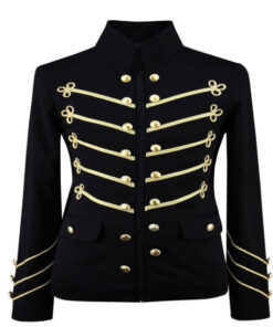 Mens Gold Embroidery Black Military Jacket Gothic Coat