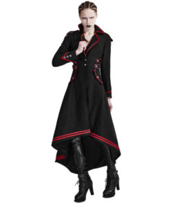 Punk Rave Womens Steampunk Military Coat Jacket Long Black Red Gothic Uniform