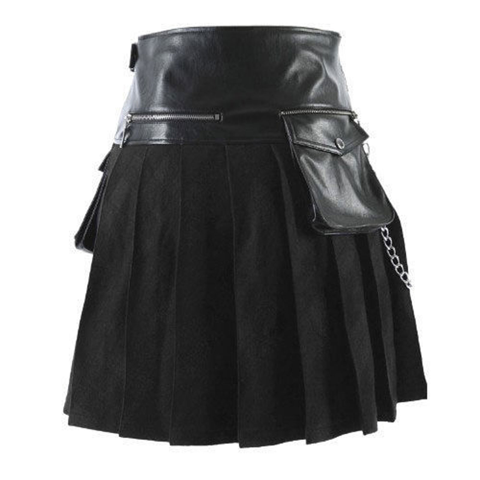 scottish-black-gladiator-viking-leather-kilt-front