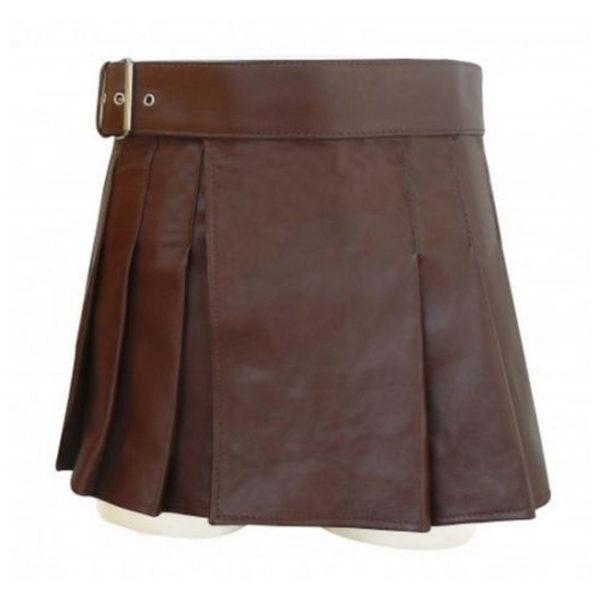 scottish-black-leather-highland-gladiator-viking-utility-kilt-front