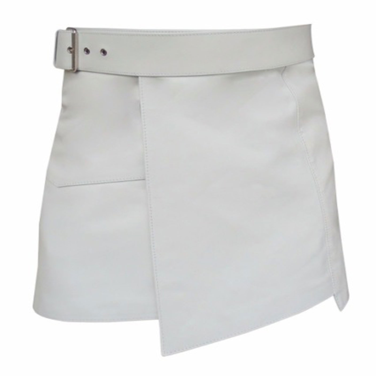 short-mini-white-leather-kilt-front