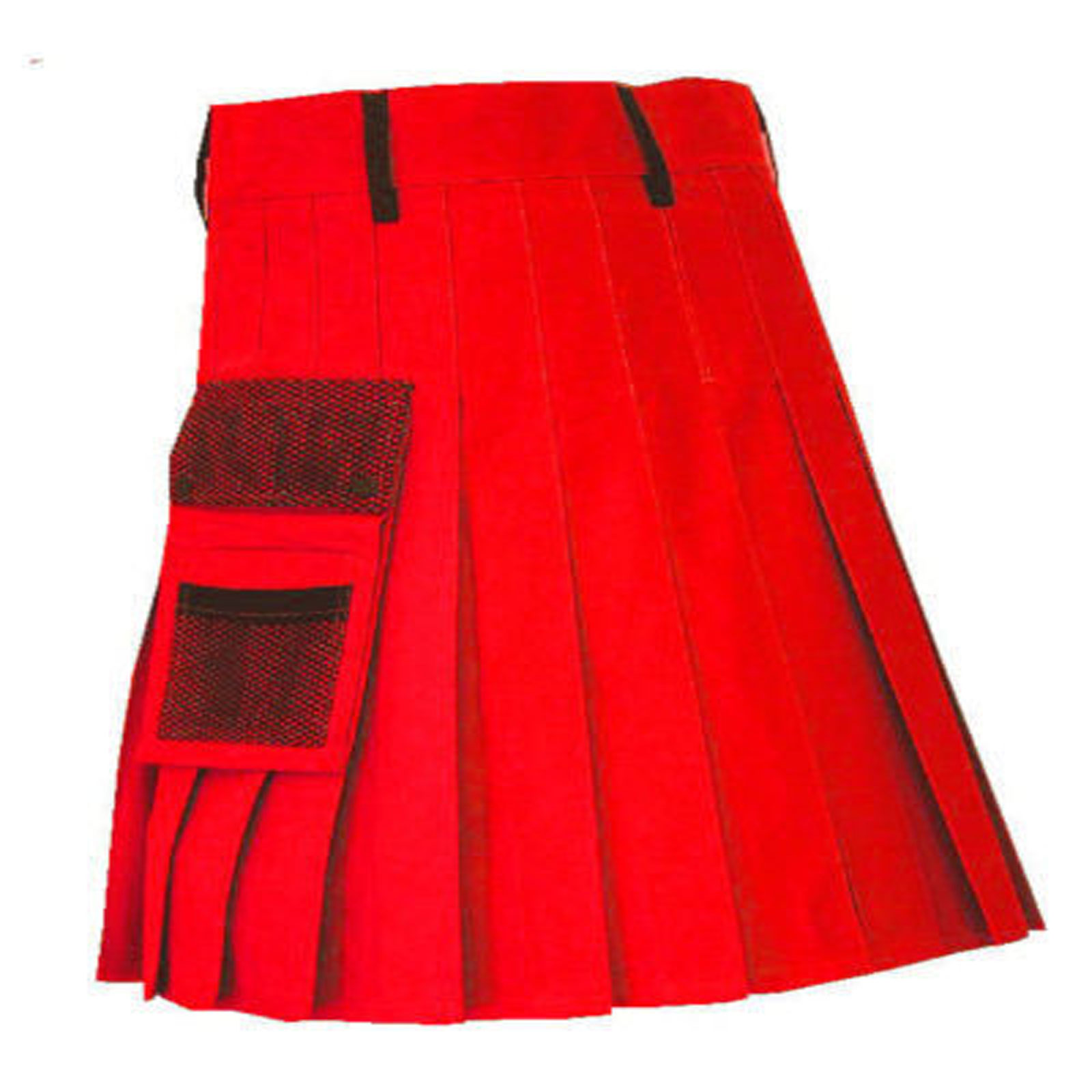 stylish-red-net-pocket-fashion-kilt-front