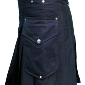 Black Deluxe Utility Fashion Kilt with Cargo Pockets