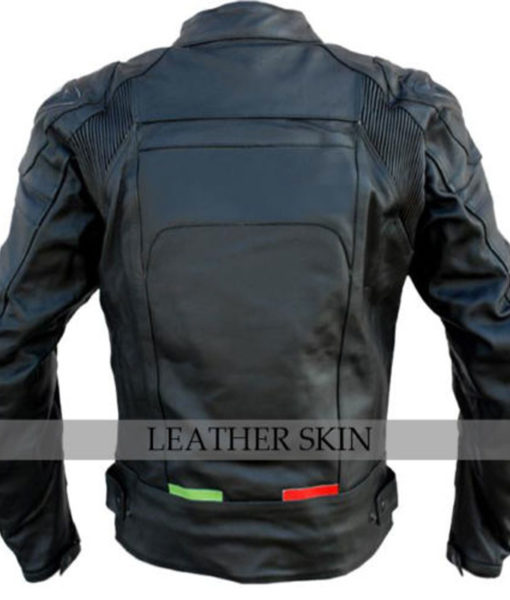 Bike Racing Black Leather Jacket with Free CE Armors Leather Gear Jacket