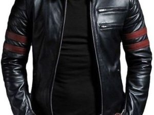 Men Retro Hybrid Mayhem Brad Pitt Black Genuine Leather Jacket (1)