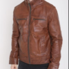Mens Brown Leather Jacket Biker Style Slim Fit Fashion Jacket (2)