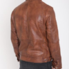 Mens Brown Leather Jacket Biker Style Slim Fit Fashion Jacket (3)
