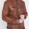 Mens Brown Leather Jacket Biker Style Slim Fit Fashion Jacket (4)