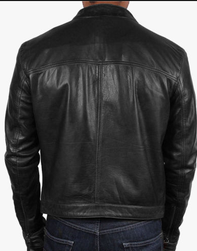 Mens black genuine leather jacket Slim Fit Biker Motorcycle Vintage Cafe Racer jacket (1)