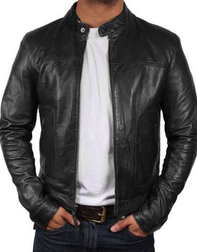 Mens black genuine leather jacket Slim Fit Biker Motorcycle Vintage Cafe Racer jacket (2)