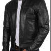 Mens black genuine leather jacket Slim Fit Biker Motorcycle Vintage Cafe Racer jacket (3)