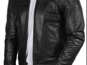 Mens black genuine leather jacket Slim Fit Biker Motorcycle Vintage Cafe Racer jacket