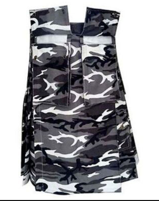 Urban White and Black Camo Army Kilt (2)