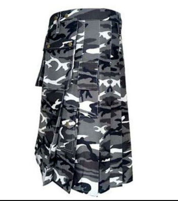 Urban White and Black Camo Army Kilt (3)