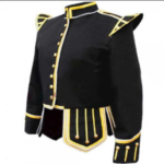 Black Fancy Doublet Piper Jacket with Gold Trim