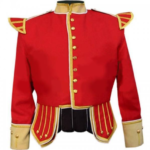 Red Buff Fancy Doublet Piper Jacket with Gold Trim