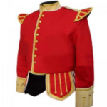 Red Buff Fancy Doublet Piper Jacket with Gold Trim1