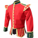 Red Green Fancy Doublet Piper Jacket with Gold Trim